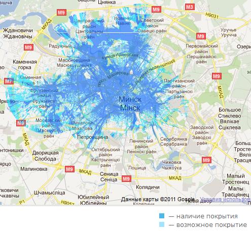 Yota покрытие в городе Минске